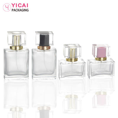 YC-X17 Clear Square Glass Spray Perfume Bottle